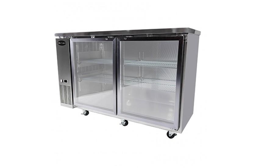 24 Depth 60 Two Glass Door Stainless Steel Back Bar Refrigerator