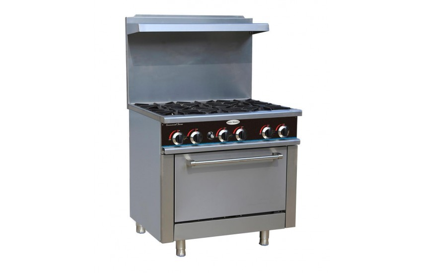 6 burner gas commercial stove range full size oven brand new in box with grill